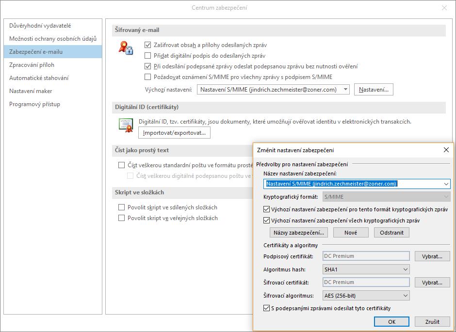 Nastavení S/MIME certifikátu v Outlooku